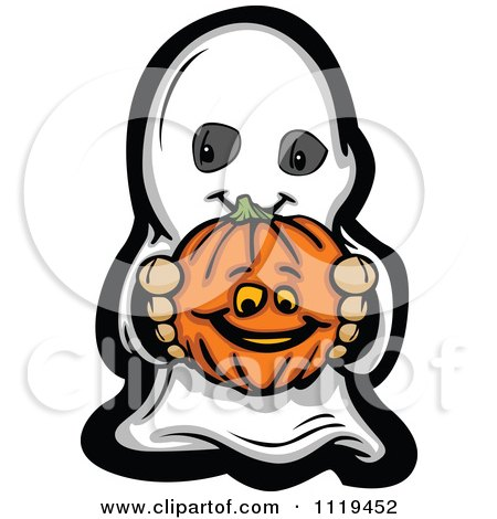 Cartoon Of A Halloween Kid In A Ghost Costume Holding Out A Pumpkin - Royalty Free Vector Clipart by Chromaco