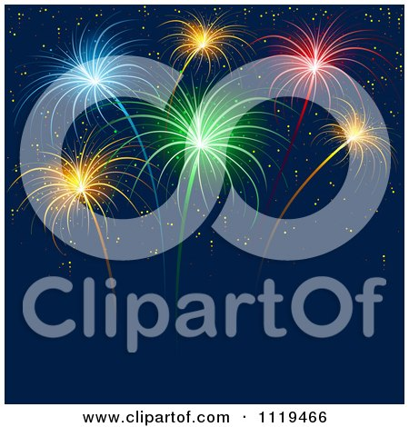Clipart Of Colorful Fireworks Bursting In A Night Sky 2 Royalty Free Vector Illustration