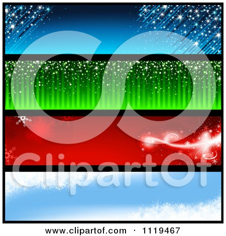 Clipart Of Blue Green Red And Blue Winter Christmas Holiday Website Banners - Royalty Free Vector Illustration by dero