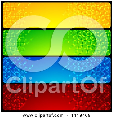 Clipart Of Blue Green Red And Blue Mosaic Website Banners - Royalty Free Vector Illustration by dero