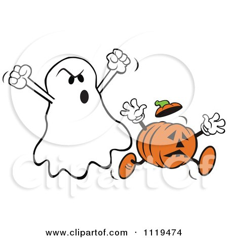 Cartoon Of A Halloween Ghost Spooking A Jackolantern - Royalty Free Vector Clipart by Johnny Sajem