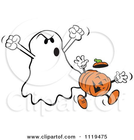 Cartoon Of A Halloween Ghost Frighteneing A Jackolantern - Royalty Free Vector Clipart by Johnny Sajem