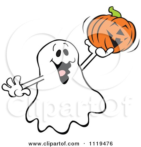 Cartoon Of A Halloween Ghost Holding Up A Jackolantern - Royalty Free Vector Clipart by Johnny Sajem