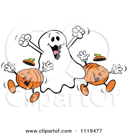 Cartoon Of A Happy Halloween Ghost With Jackolanterns - Royalty Free Vector Clipart by Johnny Sajem