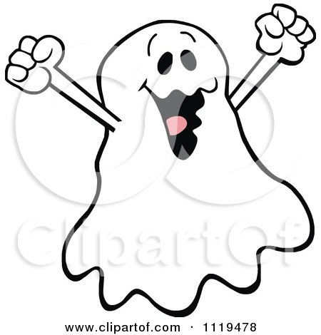 Cartoon Of A Halloween Ghost Cheering Royalty Free Vector Clipart