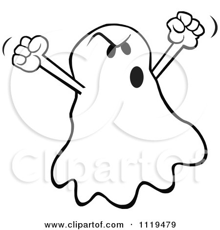 Cartoon Of A Halloween Ghost Spooking - Royalty Free Vector Clipart by Johnny Sajem