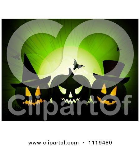 Clipart Of A Green Halloween Background With Jackolanterns Bats And Full Moon - Royalty Free Vector Illustration by elaineitalia