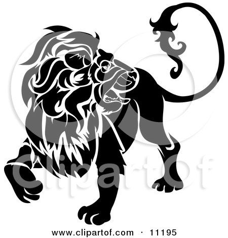 a Lion Looking Back, Leo, Astrological Sign of the Zodiac Clipart Illustration by AtStockIllustration