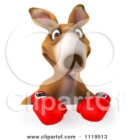 Clipart Of A 3d Aussie Kangaroo Boxer With A Sign 1 - Royalty Free CGI Illustration by Julos
