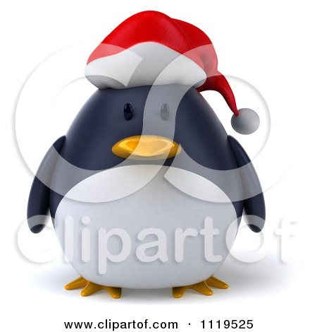 Clipart Of A 3d Christmas Penguin Wearing A Santa Hat - Royalty Free CGI Illustration by Julos