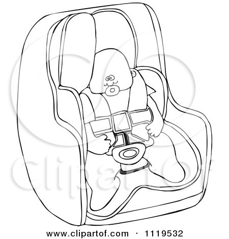 Cartoon Of An Outlined Baby In A Car Seat - Royalty Free Vector Clipart by djart