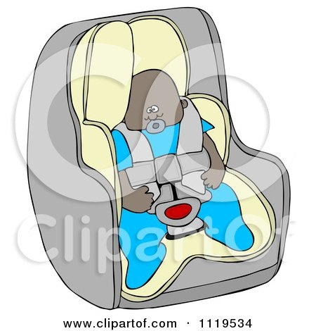 Cartoon Of An African American Baby Boy In A Car Seat - Royalty Free Clipart by djart