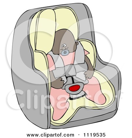 Cartoon Of An African American Baby Girl In A Car Seat - Royalty Free Clipart by djart