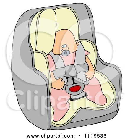 Cartoon Of A Caucasian Baby Girl In A Car Seat - Royalty Free Clipart by djart