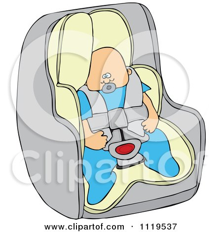 Cartoon Of A Caucasian Baby Boy In A Car Seat - Royalty Free Vector Clipart by djart