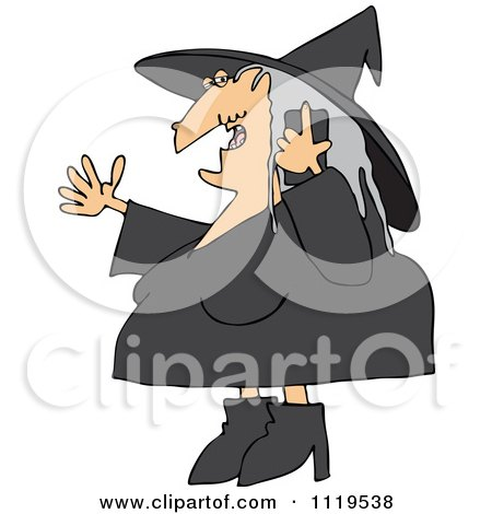 Cartoon Of A Halloween Witch Talking On A Cell Phone - Royalty Free Vector Clipart by djart