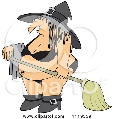 Cartoon Of A Halloween Witch In A Bikini - Royalty Free Vector Clipart by djart