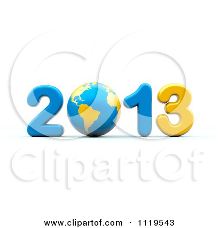 Clipart Of A 3d Blue And Yellow Year 2013 With A Globe As The Zero - Royalty Free CGI Illustration by chrisroll