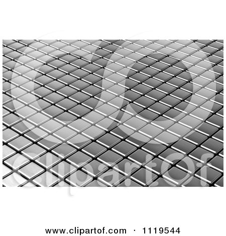 Clipart Of A 3d Metal Tile Background - Royalty Free CGI Illustration by stockillustrations