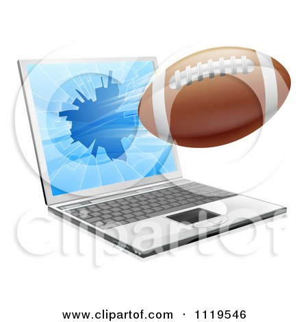 Clipart Of A Football Flying Through And Shattering A 3d Laptop Screen - Royalty Free Vector Illustration by AtStockIllustration