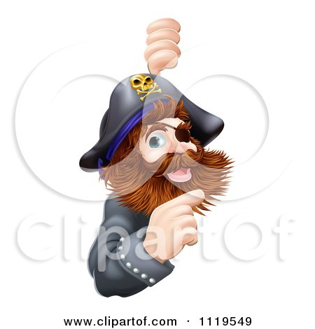 Clipart Of A Friendly Pirate Captain Pointing At A Sign - Royalty Free Vector Illustration by AtStockIllustration