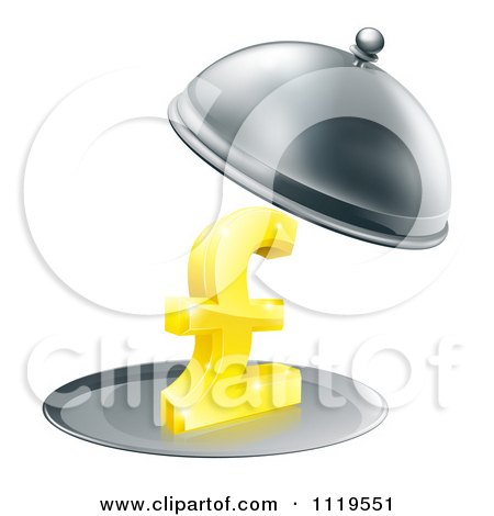 Clipart Of A 3d Gold Pound Sterling Symbol On A Silver Platter Under A Cloche - Royalty Free Vector Illustration by AtStockIllustration