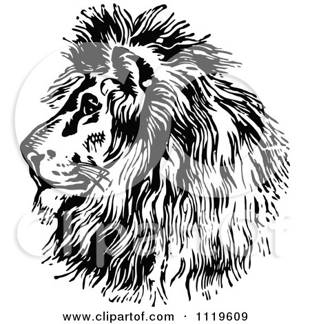 Clipart Of A Retro Vintage Black And White Majestic Lion Head Profile - Royalty Free Vector Illustration by Prawny Vintage