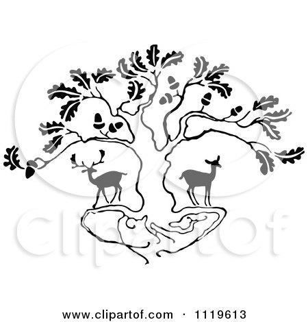 Clipart Of Retro Vintage Black And White Deer Under An Oak Tree