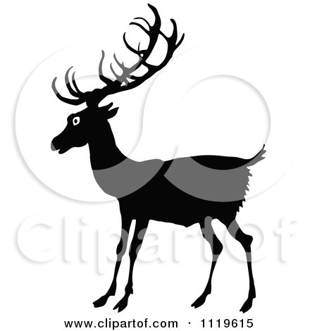 Clipart Of A Retro Vintage Black And White Deer - Royalty Free Vector Illustration by Prawny Vintage
