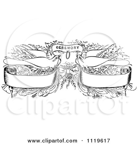 Clipart Of Retro Vintage Black And White Wedding Doves With Banners And Ceremony Text - Royalty Free Vector Illustration by Prawny Vintage