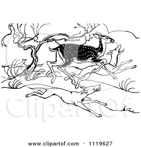 Clipart Of A Retro Vintage Black And White Deer Running From Hunting Dogs - Royalty Free Vector Illustration by Prawny Vintage