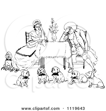 Clipart Of A Retro Vintage Black And White Exhausted Couple With Six Dogs - Royalty Free Vector Illustration by Prawny Vintage