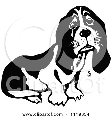 Clipart Of A Retro Vintage Black And White Crying Basset Hound - Royalty Free Vector Illustration by Prawny Vintage