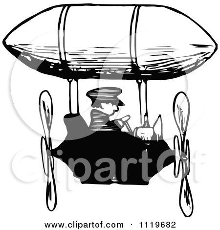 Clipart Of A Retro Vintage Black And White Man Flying An Airship - Royalty Free Vector Illustration by Prawny Vintage