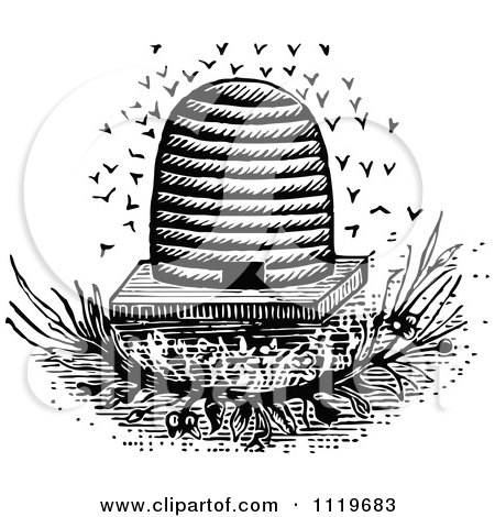 Clipart Of A Retro Vintage Black And White Bees And Hive 2 - Royalty Free Vector Illustration by Prawny Vintage