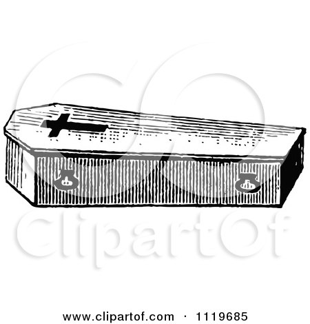 Clipart Of A Retro Vintage Black And White Coffin With A Cross - Royalty Free Vector Illustration by Prawny Vintage