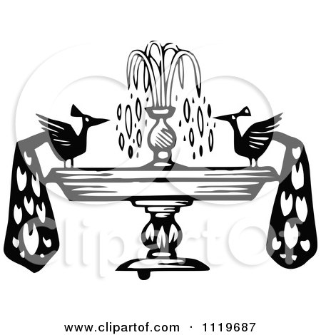 Clipart Of Retro Vintage Black And White Peacocks On A Fountain - Royalty Free Vector Illustration by Prawny Vintage