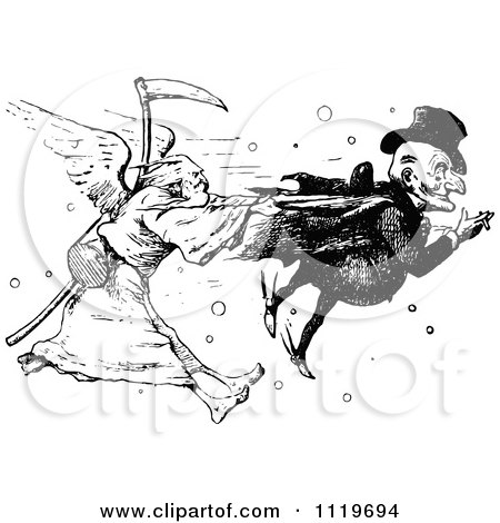 Clipart Of A Retro Vintage Black And White Man And Father Time In A Death Race - Royalty Free Vector Illustration by Prawny Vintage