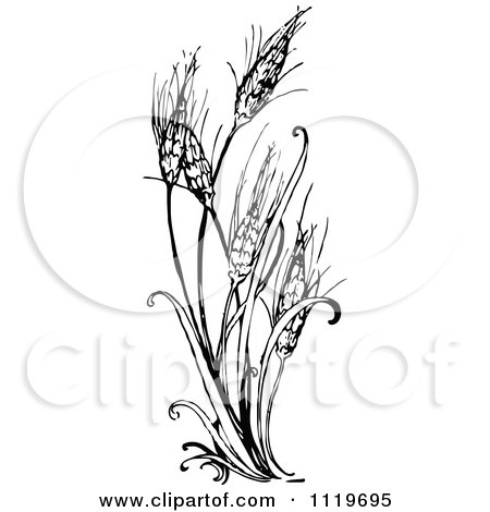 clipart of a retro vintage black and white cereals recipe