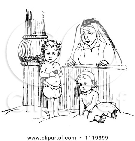 Clipart Of A Retro Vintage Black And White Orphan Kids With A Nun - Royalty Free Vector Illustration by Prawny Vintage