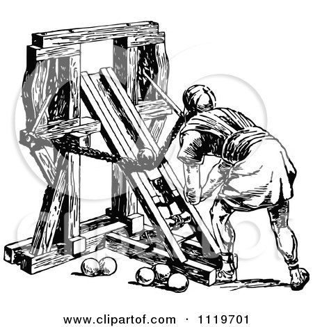 Clipart Of A Retro Vintage Black And White Roman Soldier Loading A Ballista - Royalty Free Vector Illustration by Prawny Vintage