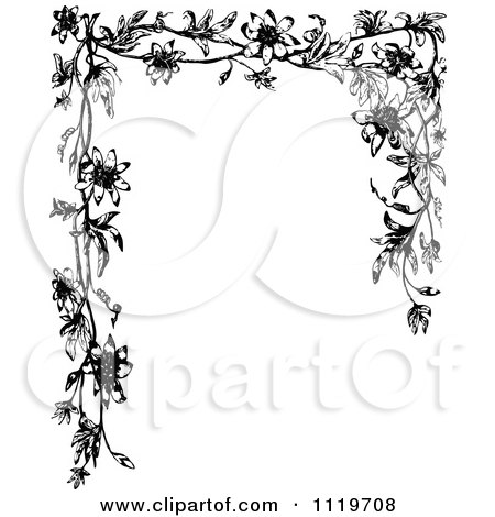 Clipart Of A Retro Vintage Black And White Passion Flower Frame - Royalty Free Vector Illustration by Prawny Vintage