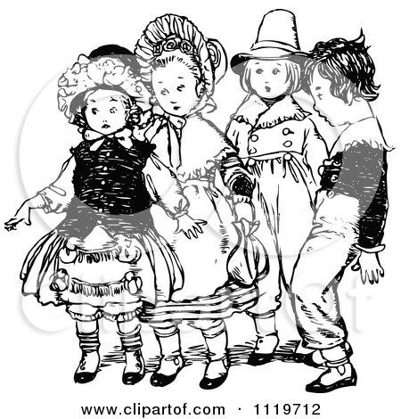 Clipart Of Retro Vintage Black And White Nervous Kids - Royalty Free Vector Illustration by Prawny Vintage