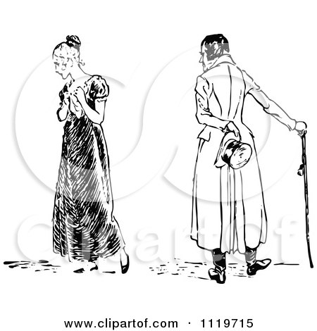Clipart Of A Retro Vintage Black And White Heart Broken Woman And Man - Royalty Free Vector Illustration by Prawny Vintage