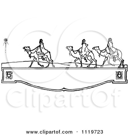 Clipart Of Retro Vintage Black And White Wisemen On A Shelf - Royalty Free Vector Illustration by Prawny Vintage