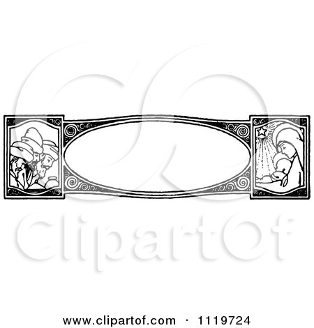 Clipart Of A Retro Vintage Black And White Nativity Border - Royalty Free Vector Illustration by Prawny Vintage