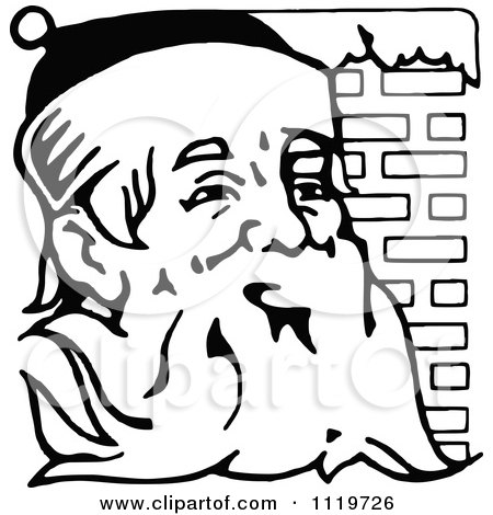 Clipart Of A Retro Vintage Black And White Santa Against Brick - Royalty Free Vector Illustration by Prawny Vintage