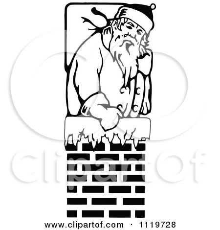Clipart Of A Retro Vintage Black And White Santa In A Chimney - Royalty Free Vector Illustration by Prawny Vintage
