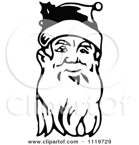 Clipart Of A Retro Vintage Black And White Santa Face With A Long Beard - Royalty Free Vector Illustration by Prawny Vintage