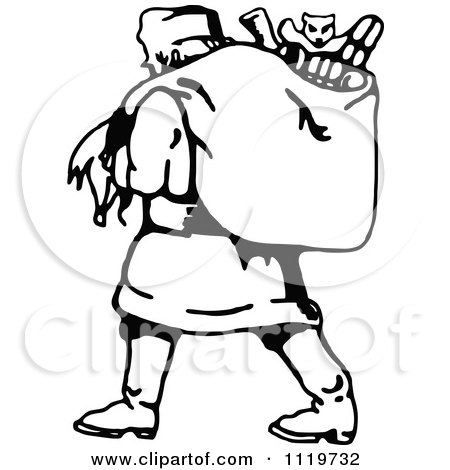 Clipart Of A Retro Vintage Black And White Santa Carrying His Christmas Sack 1 - Royalty Free Vector Illustration by Prawny Vintage